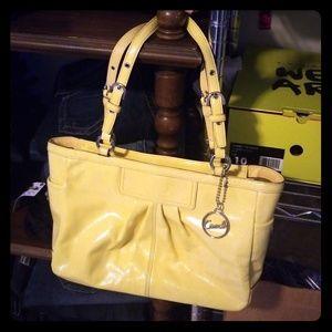 Coach Shiny Yellow Medium Sized Handbag